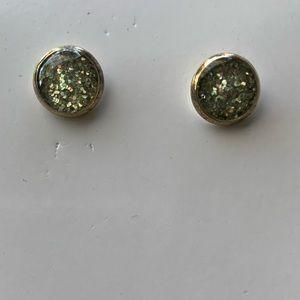 Silver / Bronze Glitter Flake Post Earrings